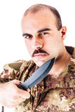 Soldier with knife Stock Photo