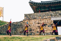 Soldier with Korean traditional armor in UNESCO world heritage Gongsanseong Stock Images