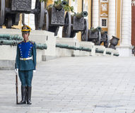 Soldier of Kremlin regiment on service. Soldiers of Kremlin regiment in Kremlin, guarding armoury. Moscow, Russia Royalty Free Stock Photo