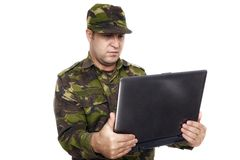 Soldier With A Laptop Stock Photo