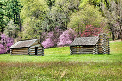 Soldier Log Cabins at Valley Forge National Park Royalty Free Stock Photos