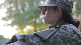 Soldier looking off the camera stock footage