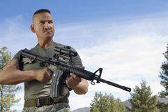 Soldier With Machine Gun Stock Images