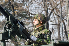 Soldier with a machine gun Royalty Free Stock Photography