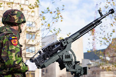 Soldier with a machine gun. Stock Images