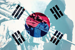 Soldier with machine gun with national flag of South Korea. Flag royalty free stock images