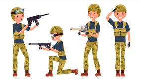 Soldier Male Vector. Poses. Silhouette. Playing In Different Poses. Man Military. War.Ready For Battle. Army. Isolated. Young Army Soldier Man Vector. Poses royalty free illustration