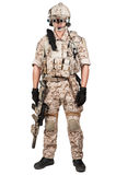 Soldier man full armor helmet in isolated Royalty Free Stock Photos