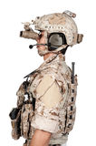 Soldier man full armor helmet in isolated Royalty Free Stock Image