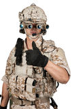Soldier man full armor helmet in isolated Stock Photos
