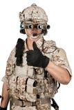 Soldier man full armor helmet in isolated Stock Photos