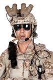 Soldier man full armor helmet in isolated Stock Image