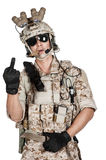 Soldier man full armor helmet in isolated Royalty Free Stock Images