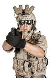 Soldier man full armor hold gun in isolated Stock Photo
