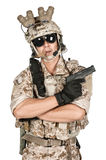 Soldier man full armor hold gun in isolated Royalty Free Stock Photos
