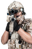 Soldier man full armor hold machine gun Royalty Free Stock Photography