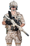 Soldier man full armor hold machine gun Royalty Free Stock Photo