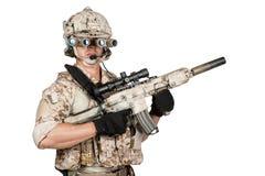 Soldier man full armor hold machine gun Stock Photography