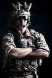 Soldier man hold aggressive fashion Stock Photography