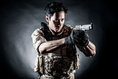 Soldier man hold gun fashion Royalty Free Stock Photo