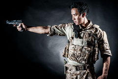 Soldier man hold gun fashion Royalty Free Stock Image