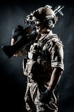 Soldier man hold Machine gun fashion Royalty Free Stock Photography