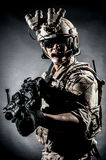 Soldier man hold Machine gun fashion Stock Images