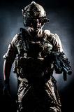 Soldier man hold Machine gun style fashion Royalty Free Stock Images
