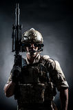 Soldier Man Hold Machine Gun Style Fashion Royalty Free Stock Image