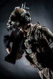 Soldier man hold Machine gun style fashion Stock Photo