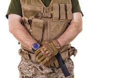 Soldier man holding his gun. Stock Images