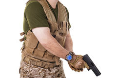 Soldier man holding his gun. Stock Photo