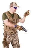 Soldier man holding his gun. Stock Photos
