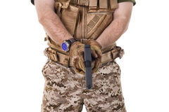 Soldier man holding his gun. Stock Photos
