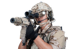 Soldier man holding Machine gun shoot Stock Photos