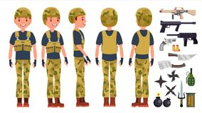 Soldier Man Set Vector. Poses. Army Person. Camouflage Uniform. Shooter. Saluting. Cartoon Military Character stock illustration
