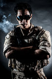 Soldier man sunglasses Cigar fashion Royalty Free Stock Photos