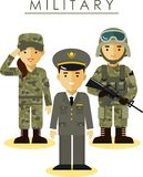 Soldier man and woman in different military Royalty Free Stock Photo