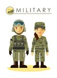 Soldier man and woman in military uniform. Soldier man and woman in camouflage uniform  on white background in flat style Royalty Free Stock Photo