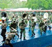 Soldier Marching Band of Indonesia. royalty free stock photos