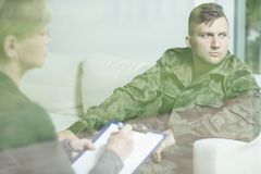 Soldier with mental disorder Royalty Free Stock Photos