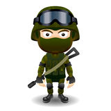 Soldier military character combat black mask male Royalty Free Stock Image