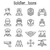 Soldier & Military icon set in thin line style royalty free illustration