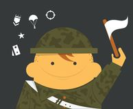 Soldier. Military man with flag in helmet Stock Photo
