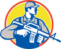Soldier Military Serviceman Assault Rifle Side Retro Royalty Free Stock Image