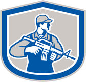 Soldier Military Serviceman Rifle Side Crest Retro. Illustration of an American soldier serviceman with assault rifle facing side set inside crest on isolated Stock Photo