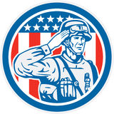 Soldier Military Serviceman Salute Circle Retro. Illustration of an American soldier serviceman saluting with stars and stripes on the background set inside Royalty Free Stock Photography