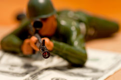 Soldier and money Stock Photography