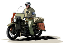 Soldier on a motorcycle World War II Royalty Free Stock Photo