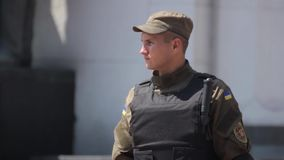 Soldier of the National Guard of Ukraine on the streets of Kyiv. Stock video footage HD / 1920-1080 / MOV / Codec H.264 / 25 fps stock video